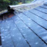 屋根に落ちる雨