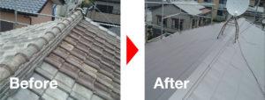 屋根葺き替え工事の施工事例の写真