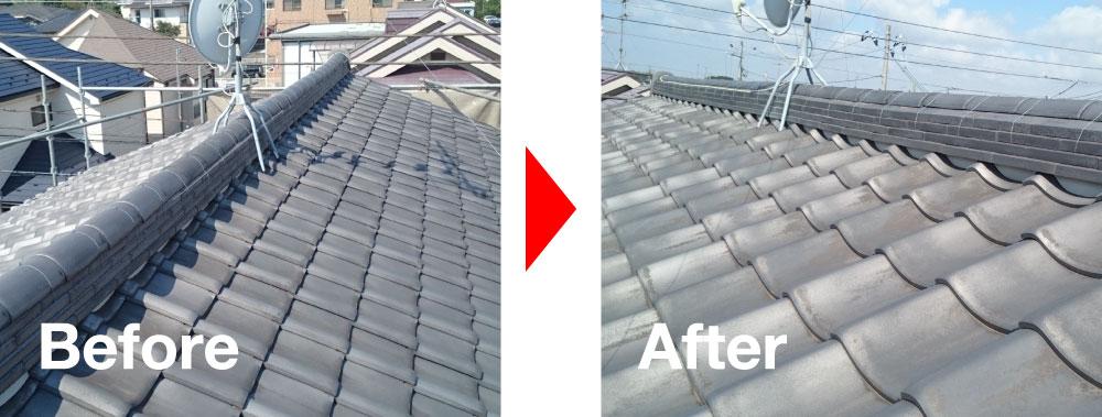 屋根葺き直し工事の施工事例の写真