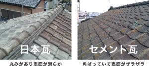 日本瓦とセメント瓦の違い