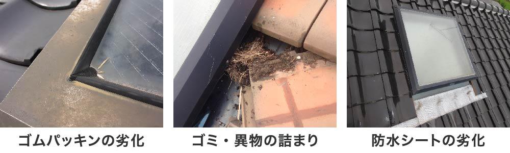 天窓の雨漏りの原因