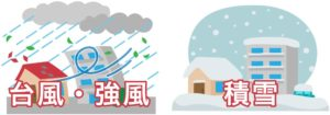 火災保険の風災と雪災のイラスト