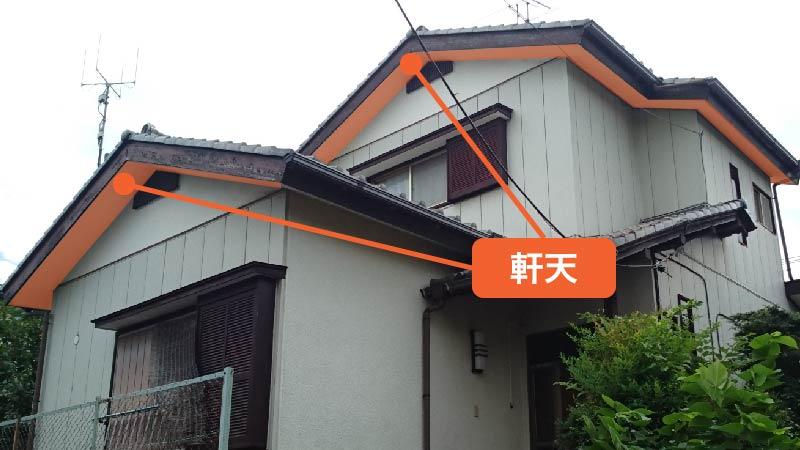 屋根の軒天の場所