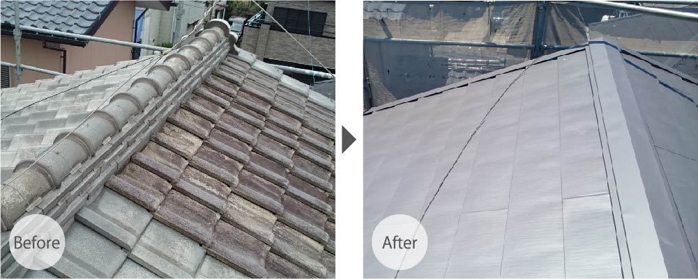 船橋市夏見台の屋根葺き替え工事の施工事例