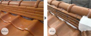 市川市中山の瓦屋根の漆喰補修工事