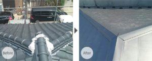 市川市国府台の瓦屋根の葺き替え工事